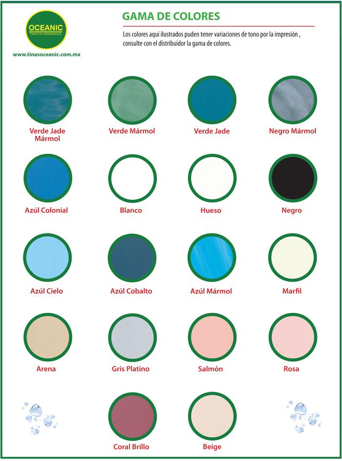 Gama de colores de tinas